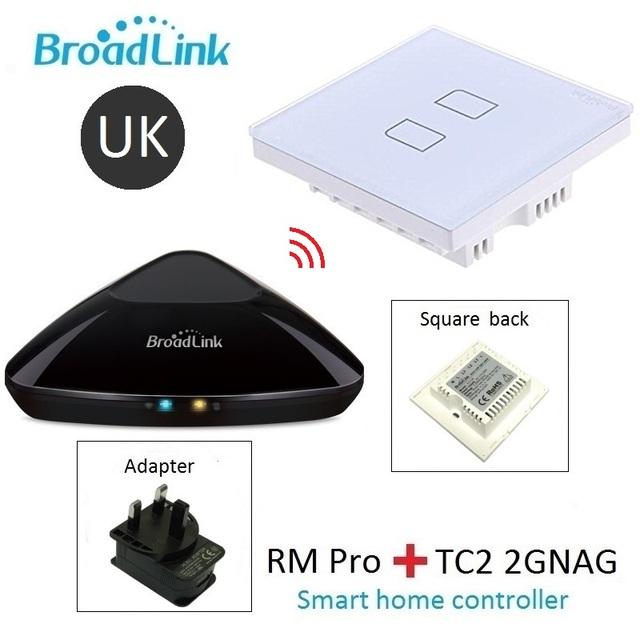 Broadlink rm pro + 2 gang tc2 estándar del reino unido, control inteligente wifi + ir + rf + on/apagado remoto táctil interruptor de la lámpara de pared, inteligente domótica