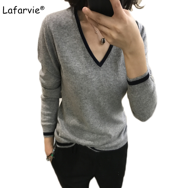 Lafarvie New V-Neck Cashmere Sweater Women All-Match Knitted Pullovers And Sweaters Autumn Winter Full Sleeve Striped Pull Femme