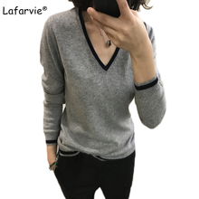 Lafarvie New V-Neck Cashmere Sweater Women All-Match Knitted Pullovers And Sweaters Autumn Winter Full Sleeve Striped Pull Femme lafarvie women autumn winter cashmere blend sweater v neck pullovers long sleeve womens knitted soft sweaters13 colors s xxl