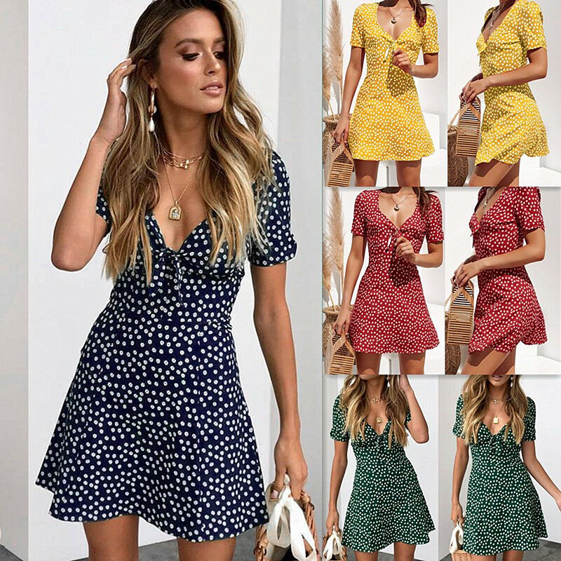 New Women Summer Casual Short Sleeve Floral Boho Dress Party Evening Beach V Neck Dress Fashion Sexy Mini Dresses