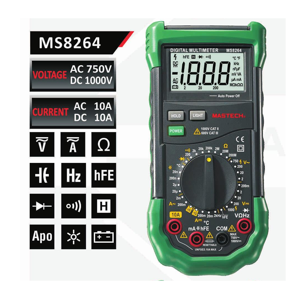 Mastech MS8264 MS8265 MS8268 MS8269 Digital Multimeter LCR Meter AC/DC Voltage Current multifunctionTester Inductance Detector mastech ms8269 digital multimeter ac dc volt amp ohm cap multi tester 20mh 20h inductance meter 20 1000c thermometer