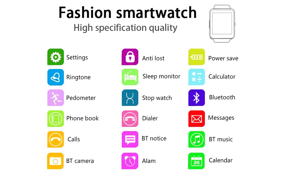 Smart Watches U8 Sport  Pedometer Handsfree Bluetooth Smartwatch Wristband for Android Phone black one size 2
