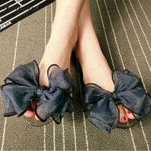 Sweet Flower Jelly Shoes 2017 Summer Women's Sandals Peep Toe Big Ribbon Bowtie Knot Transparent Material Comfort Flat Shoes