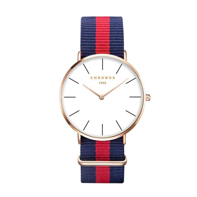 Luxury Brand CHRONOS Rose Gold Silver Men Women Watches Leather Nylon Quartz Wrist Watch Unisex Clock Relogio Masculino Feminino