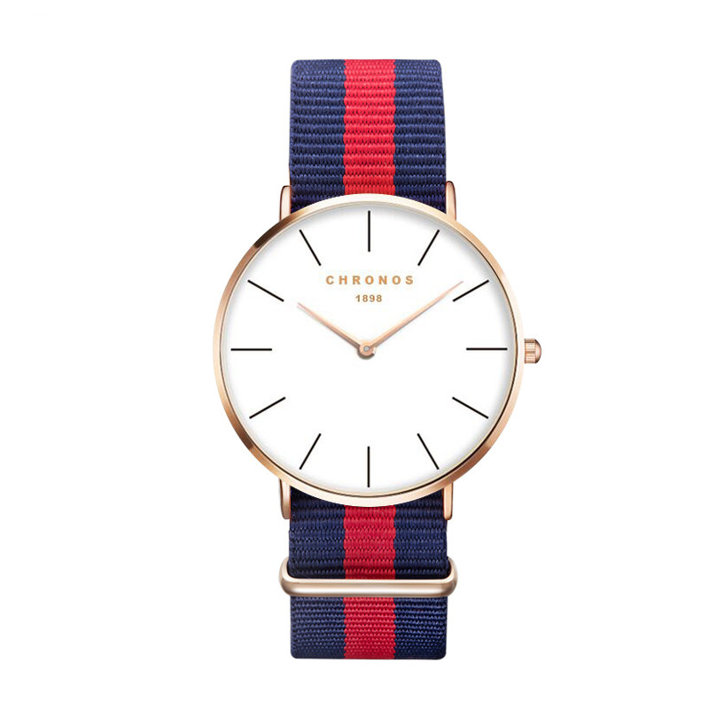 Lujo marca Chronos Rosa oro plata hombres mujeres relojes cuero nylon cuarzo reloj unisex Relogio masculino feminino