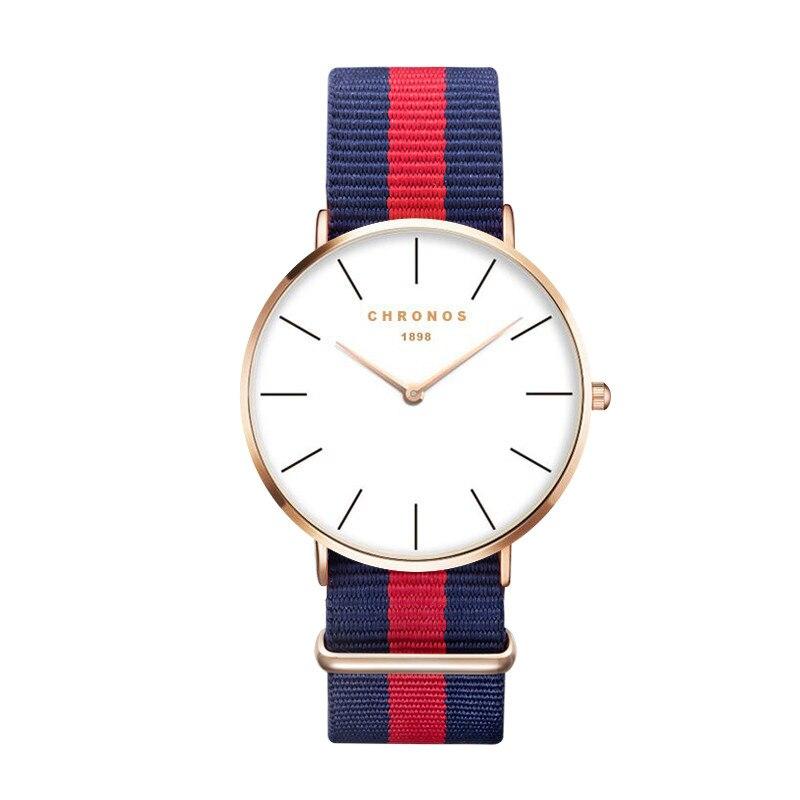 Luxus Marke CHRONOS Rose Gold Silber Männer Frauen Uhren Leder Nylon Quarz Armbanduhr Unisex Uhr Relogio Masculino Feminino
