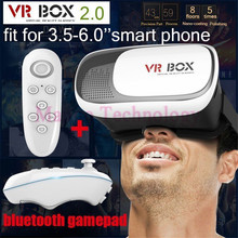 Smart Phone + bluetooth Google cardboard HeadMount VR BOX 2.0 Version VR Virtual 3D Glasses for 3.5″ – 6.0″ remote controller