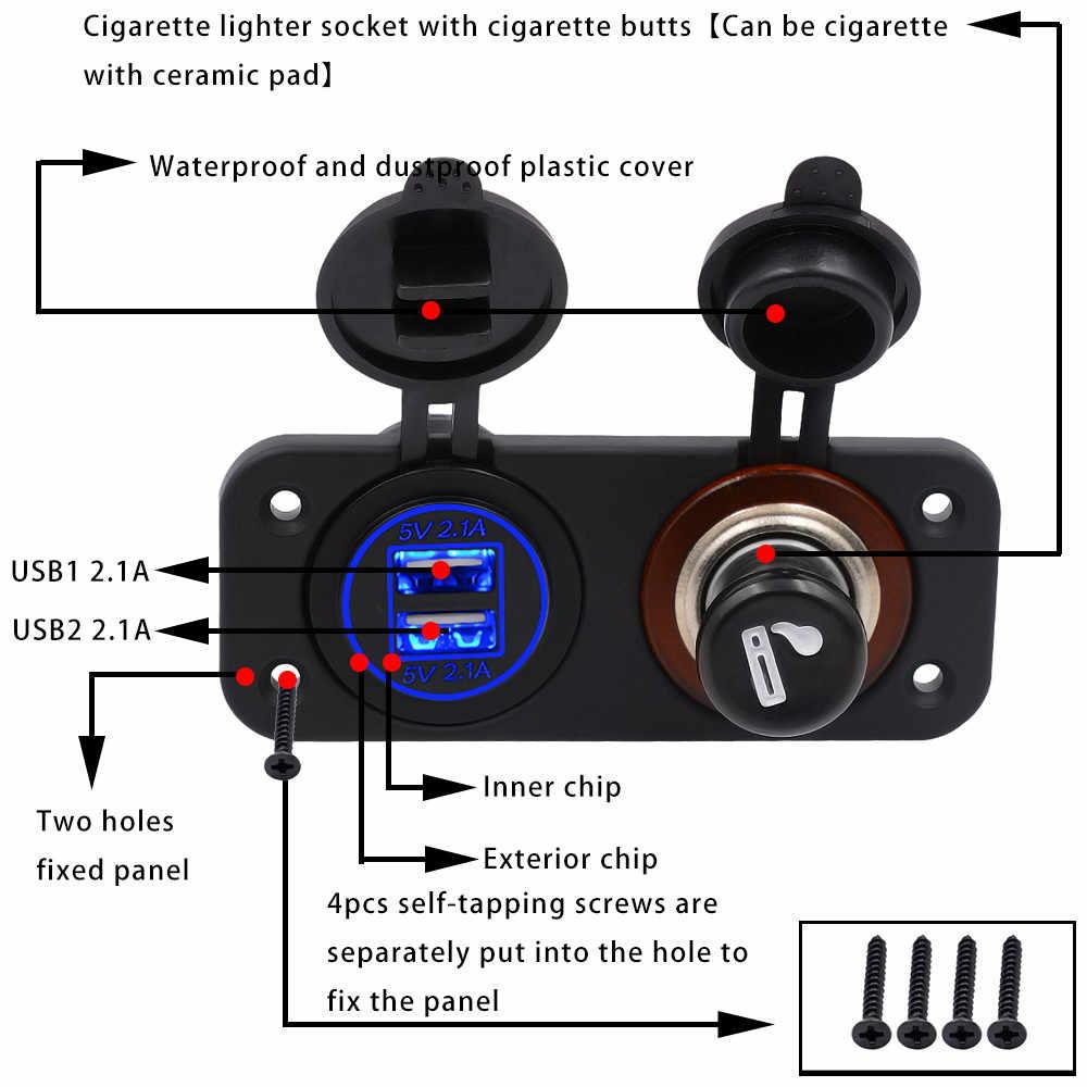 دراجة نارية 12 فولت سيارة مركبة قارب ولاعة السجائر مع مفاتيح شحن USB مزدوج قاو 5.22