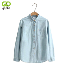 GOPLUS 2019 Denim Shirt Women Blouses Blue Long Sleeves School Shirts Jeans Turn Down Collar Blusas femininas Tops C4273