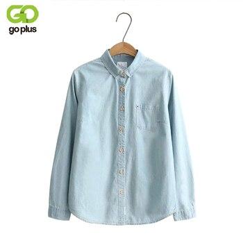 f1cf31e450cd83 GOPLUS 2019 Denim Shirt Women Blouses Blue Long Sleeves School Shirts Jeans