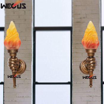 Imitasi tembaga obor lampu dinding, kreatif kiri/kanan tangan lampu dinding