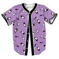 HOMBRES MODA Delgado Patrón Jersey overshirt Streetwear Hip Hop 3D con Un Solo Pecho camisa de béisbol de verano MÁS tapa del TAMAÑO tees