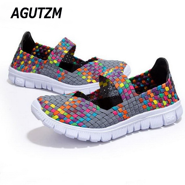AGUTZM 2018 Summer women flat sandals Shoes women Woven shoes Flat Shoes flip flops women multi colors sandals female shoes