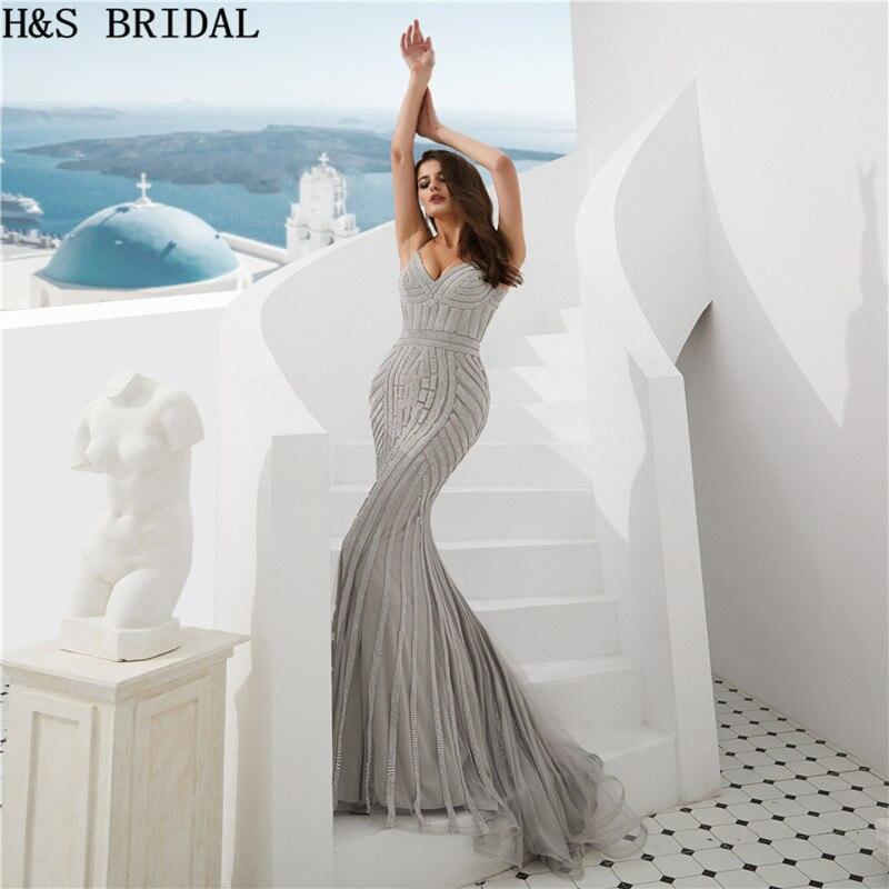 H & S свадебное серебряное вышитое кристаллами вечернее платье роскошное женское длинное платье 2020 Vestidos Вечернее платье