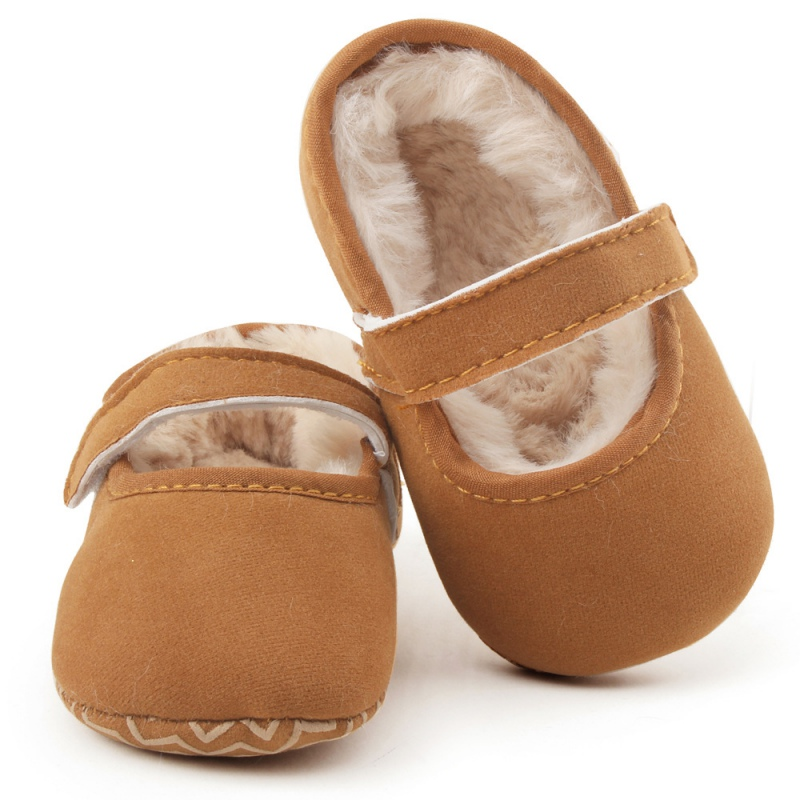 Winter Warm Baby Infant Baby Plus Velvet Moccasins Newborn Princess Toddler Baby Soft Cute Bottom Shoes
