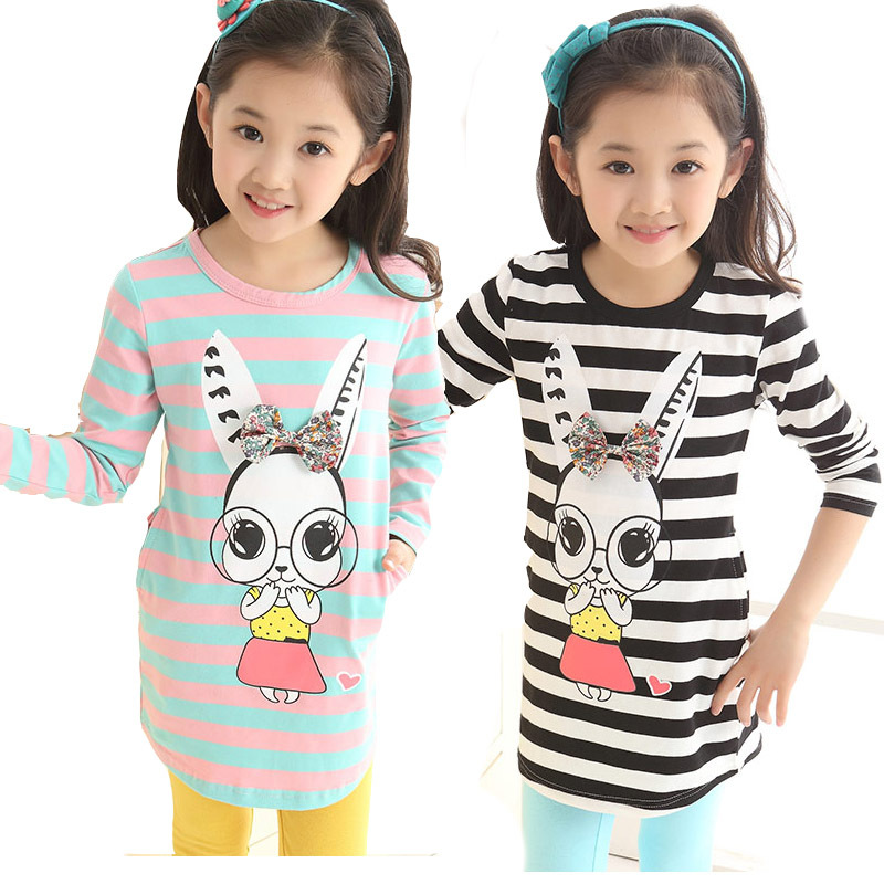 New spring girls clothing T-shirt long sleeves children long T-shirt stripe bottoming shirt Top for girs tees voile panel stripe long sleeve t shirt