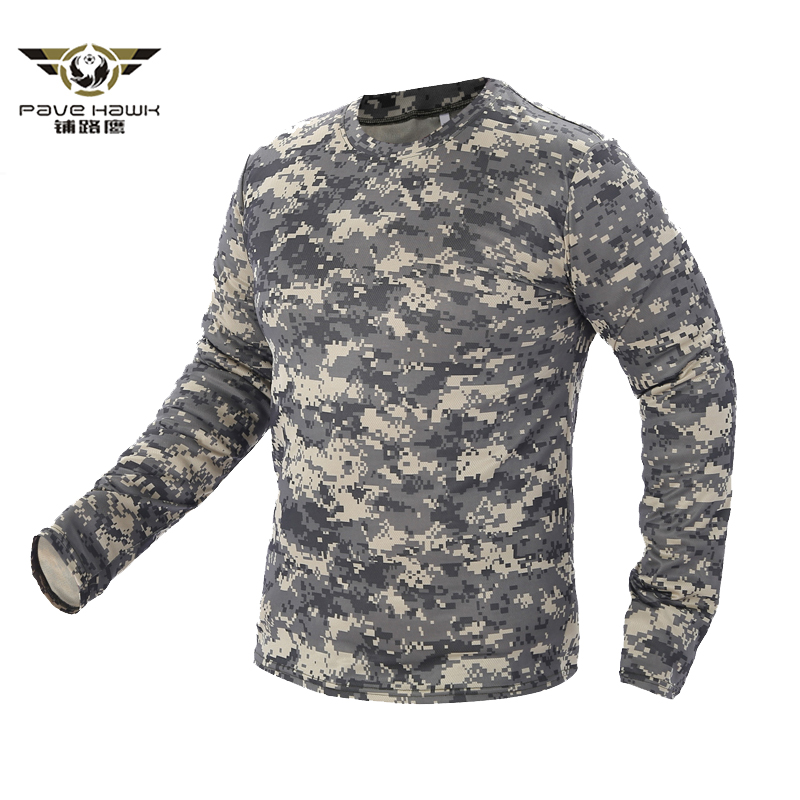 2018 New Tactical Military Camouflage T Shirt Men Breathable Quick Dry US Army Combat Full Sleeve Outwear T-shirt For Men S-3XL