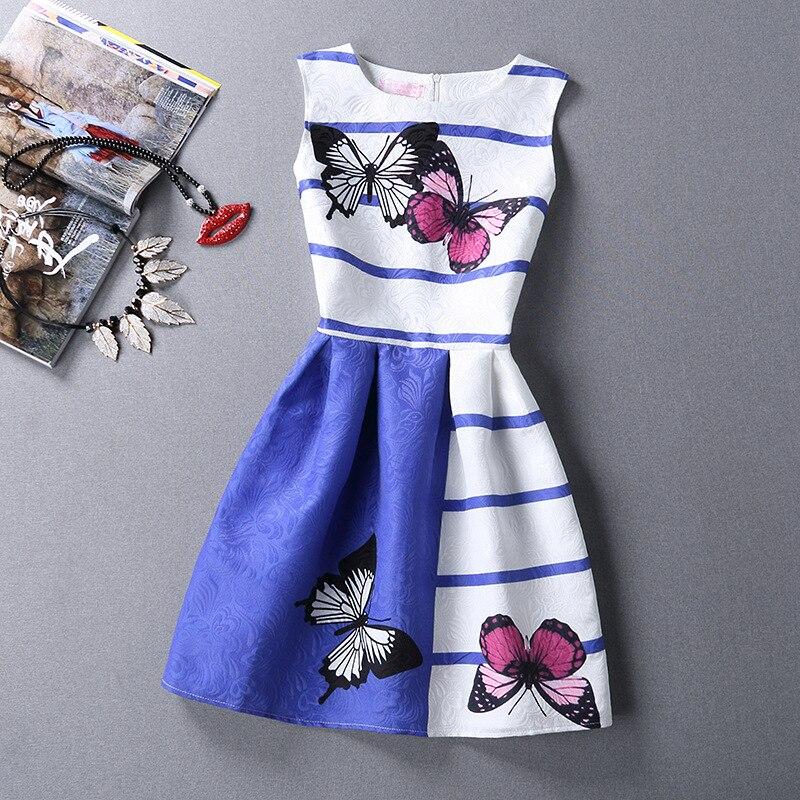 Fille Robes De Mode Papillon Bande Swing Sans Manches Robe Vintage Élégant Princesse Robes pour Filles Fête D'anniversaire Robe