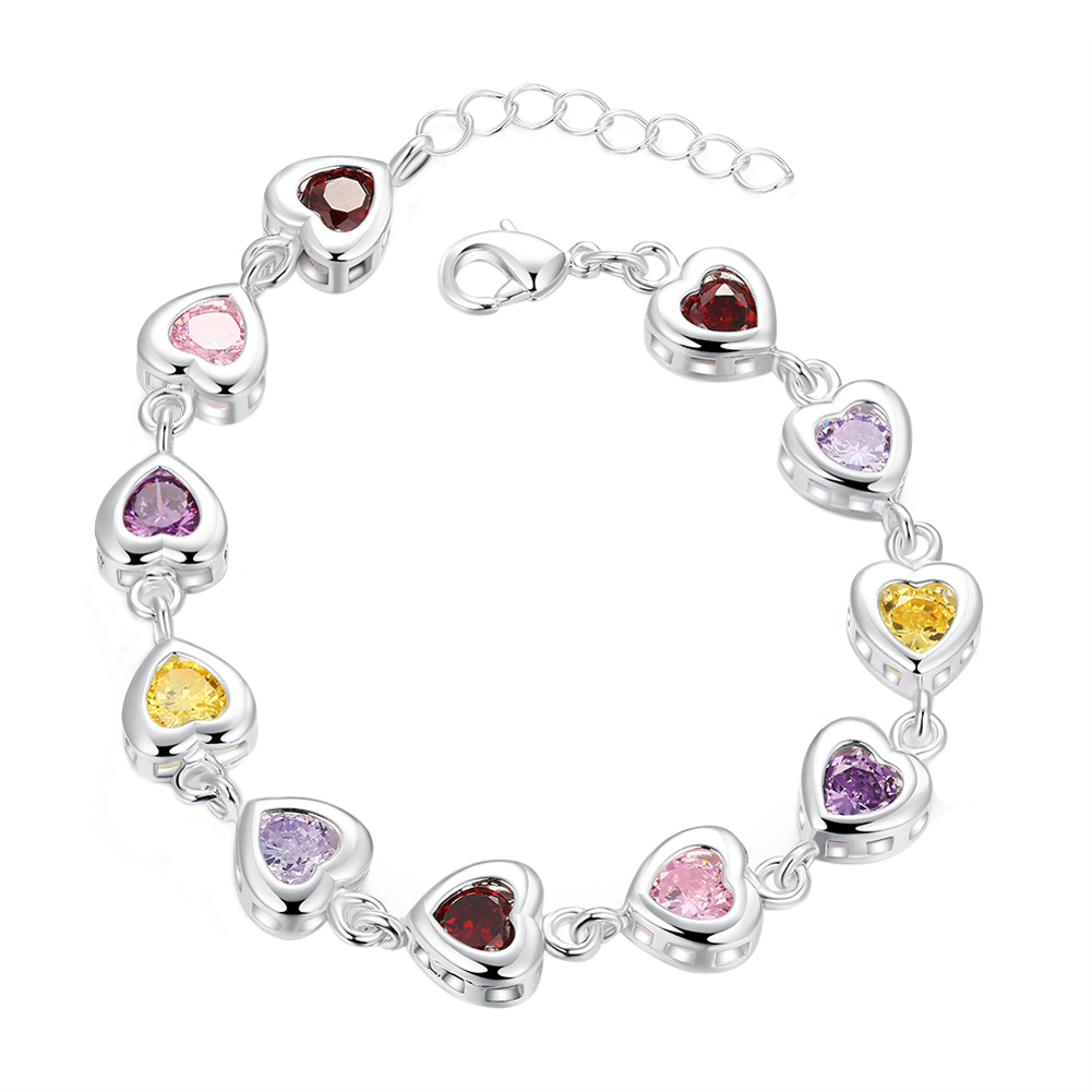 New Elegant Girls Hearts Design Friend Ship Bracelet Silver Plated Charm Elegant Bangle