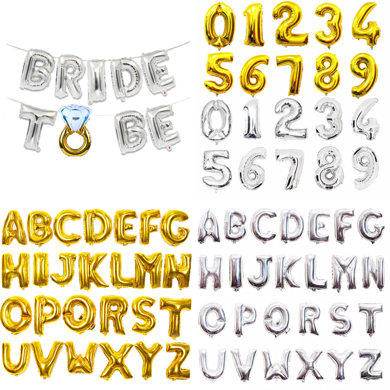 "BRIDE in GOLD SILVER 32/"" inch Foil Balloons Wedding Party Banner Decor Balloons"