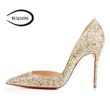 16cf274df5 WEIQIAONA 2018 Novas Estrelas modelo Moda Casual Sexy bling Luxo Pionted  Toe Bombas de sapatos de Festa de salto alto Senhoras s.