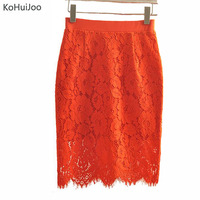 KoHuiJoo 2019 Spring Summer Women Lace Skirts Plus Size High Waist Bodycon Skirt Female Elastic Waist Office Lady pencil skirt