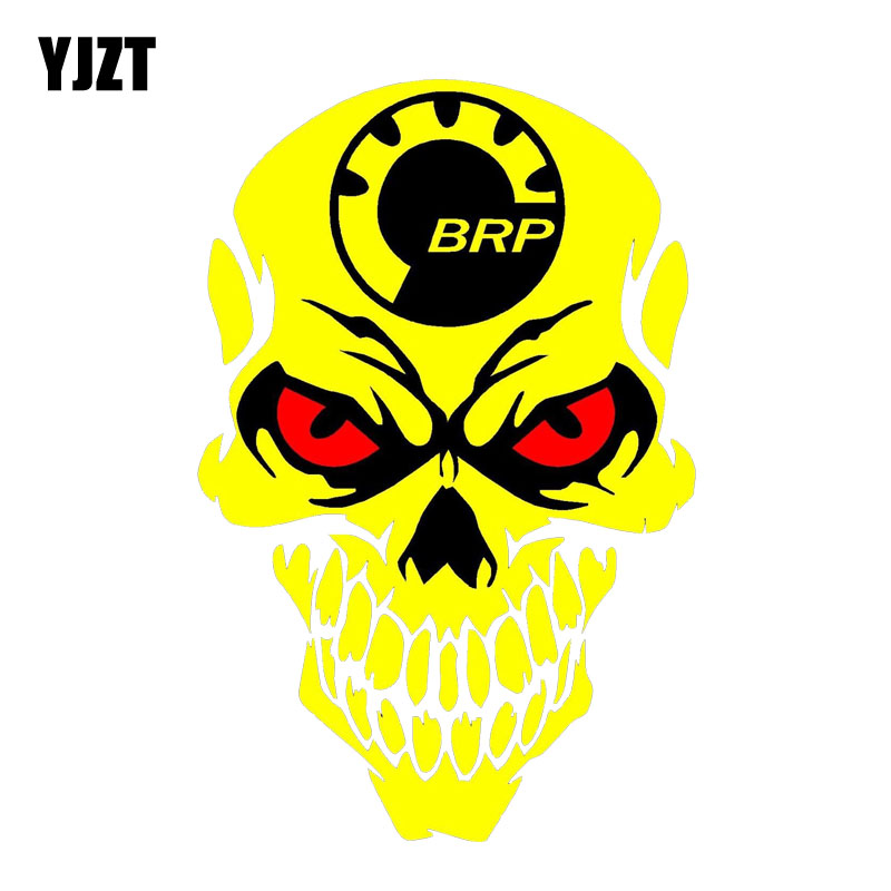 YJZT 9.8CM*15CM Individual BRP Skull Decal Reflective Body Car Sticker PVC 6-0001
