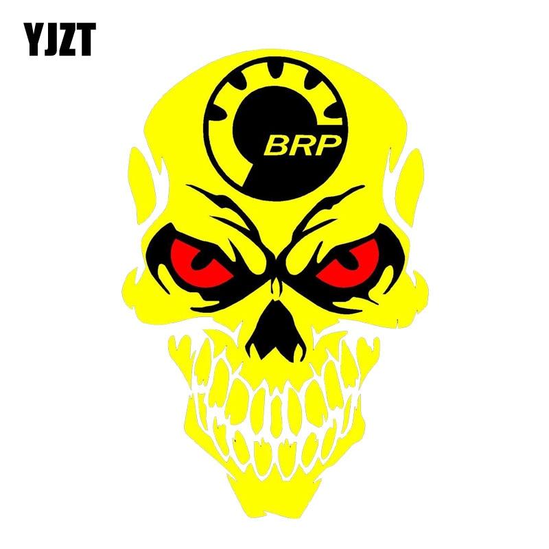 YJZT 9.8CM*15CM Individual BRP Skull Decal Reflective Body Car Sticker PVC 6-0001