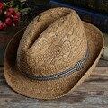 La nueva primavera y el verano de los hombres casual con sombrero jazz mano transpirable sombrero de paja playa sol sombrero casquillo de la marea
