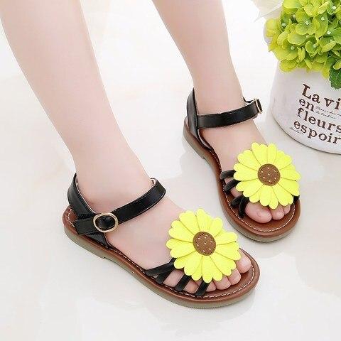 bebe sandalias de couro pu sol flores