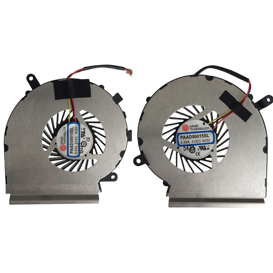A Pair New Original CPU GPU Cooling Fan For MSI GE62 GE72 PE60 PE70 GL62 PAAD06015SL N302 Laptop Cooler Radiators Cooling Fan