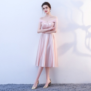 Image 4 - New pink fairy sweet lady girl women princess bridesmaid banquet party ball dress gown free shipping