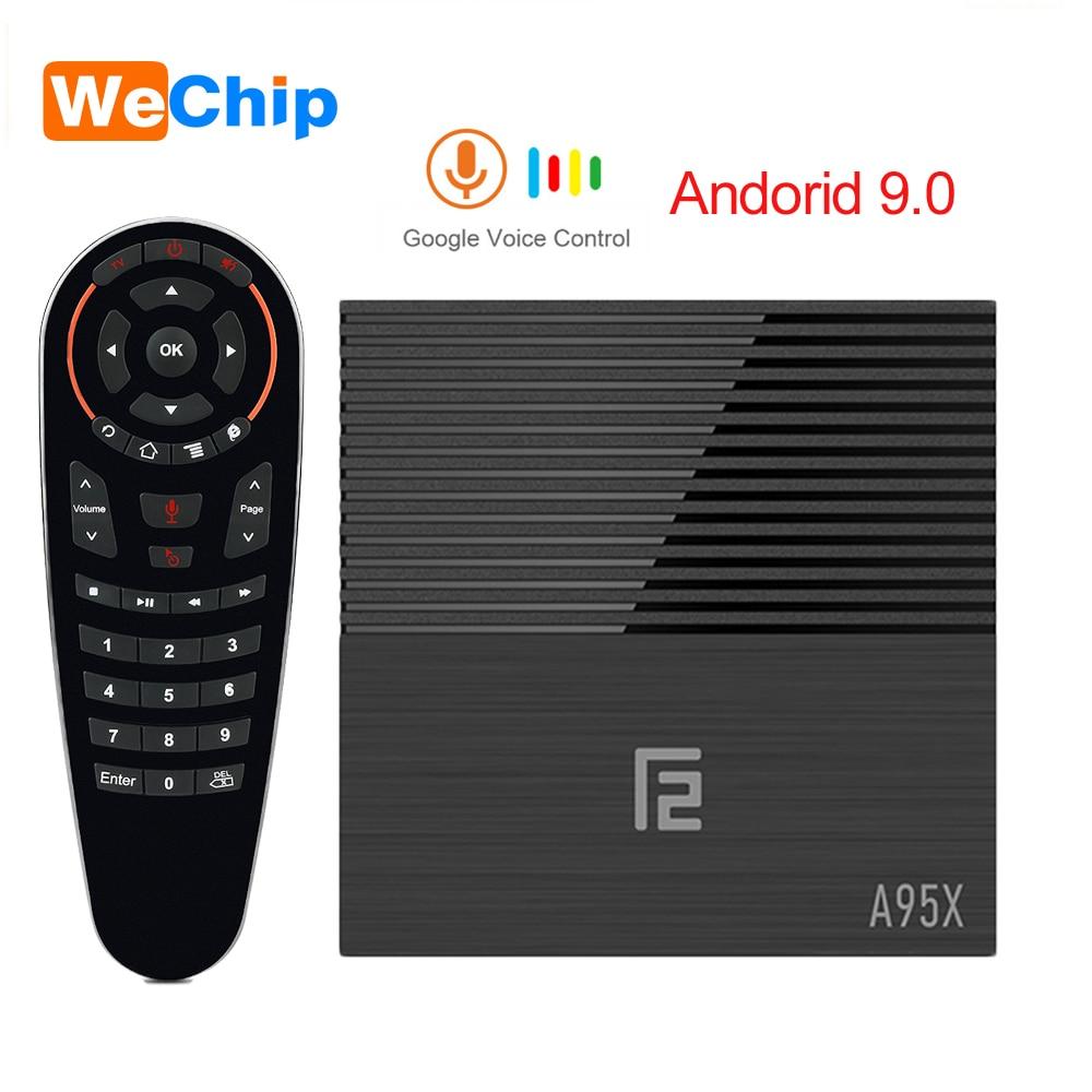 A95X F2 4 K HD Android 9.0 Caixa de TV Amlogic 4 GB LPDDR3 S905X2 Com a Voz do Google 2.4G Remoto & 5G Wi-fi BT 4.2 4 K YouTube Set Top Box