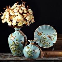XING KILO American retro ceramic vase plate decoration, living room study wine cabinet modern creative home decorations