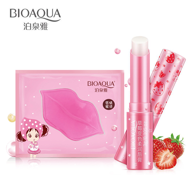 BIOAQUA 2pcs/set Collagen Crystal Collagen Lip Film Moisturizing Exfoliating & Lips Balm ...