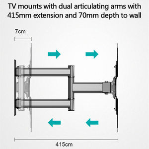 """Image 2 - Soporte de pared de TV giratorio inclinable para Monitor de pantalla plana LED de 26 50 """", VESA 400x400 con brazo de extensión articulado de movimiento completo"""