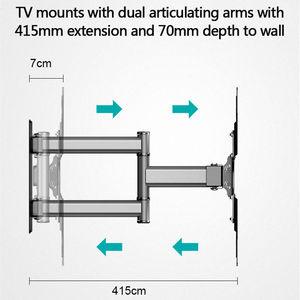 """Image 2 - Tv Montaggio a Parete Girevole Tilt Staffa per 26 50 """"Led a Schermo Piatto Monitor Vesa 400X400 con full Motion Articolazione Braccio di Estensione"""