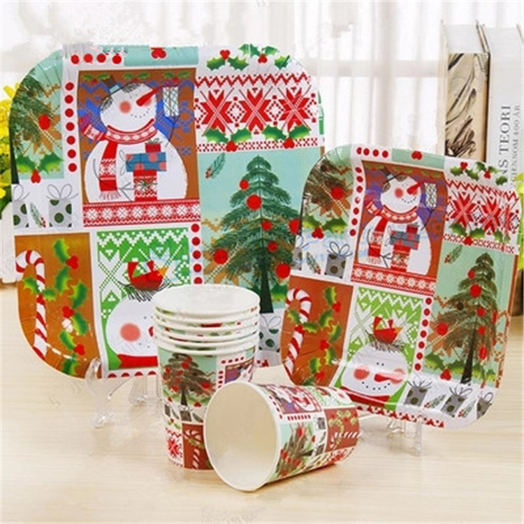 30 Sets Christmas Table Setting Paper Tableware Plate Dishes Drinking Cups Straws Cupcake Stand Santa Bunting Party Table Decor-in Disposable Party ...  sc 1 st  AliExpress.com & 30 Sets Christmas Table Setting Paper Tableware Plate Dishes ...