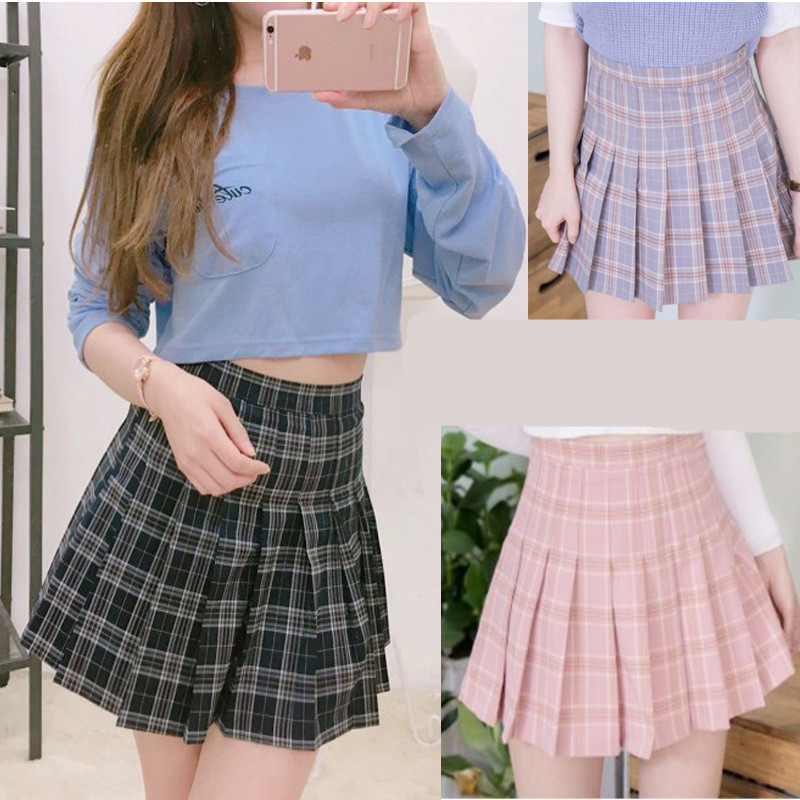 Harajuku women skirts 2019 Korean Summer Style New Plaid Pleated Skirt Rock Kawaii High Waist Fashion Femela Pleates Skirts tote bags for work