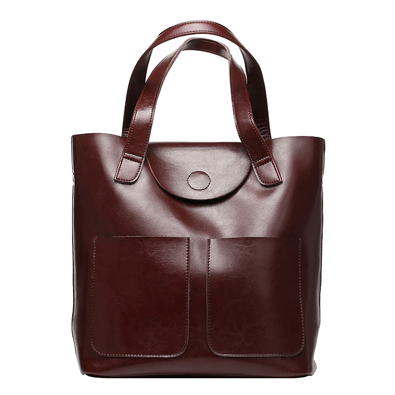 Big Volume Genuine Leather Women Bag Elegant Oil Wax Cowhide Shoulder Bag Vintage Women Leather handbag Casual Large Totes new 2017 fashion brand genuine leather women handbag europe and america oil wax leather shoulder bag casual women