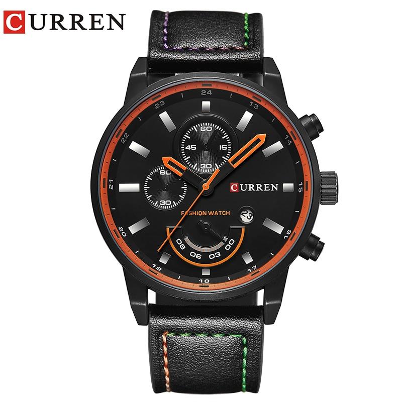 CURREN relógio para homens marca de quartzo-relógio Dos Homens Redonda masculina Dial Analog Watch com Data de Exibição 8217