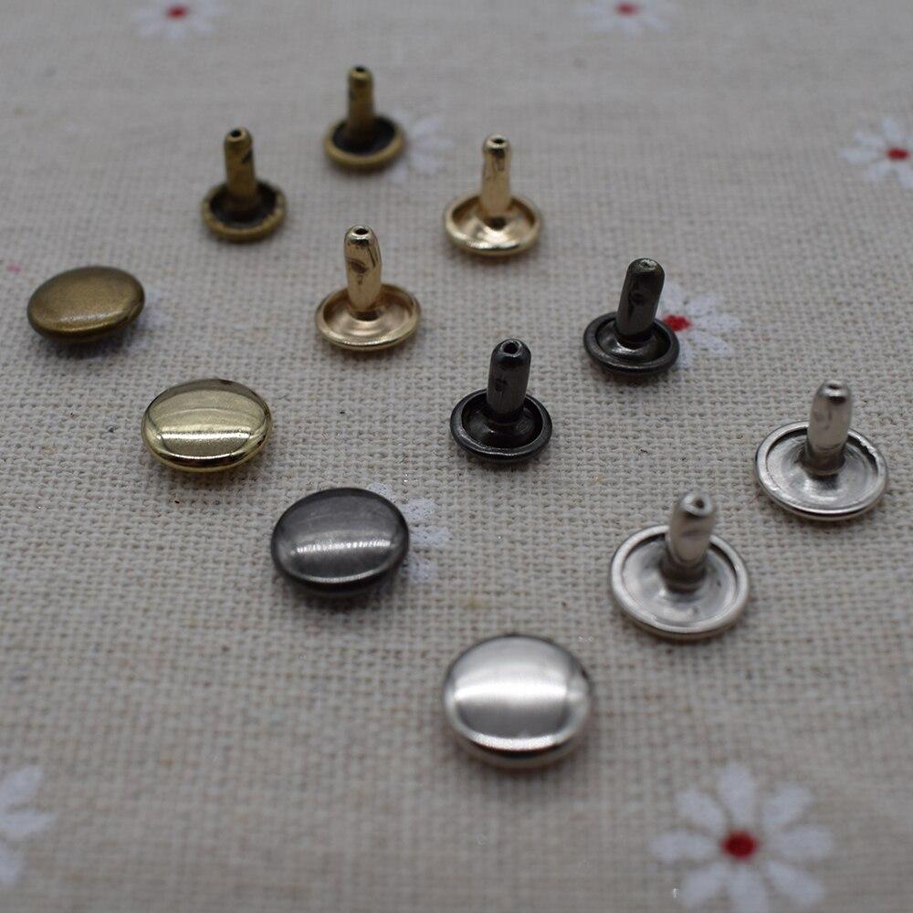 100pcs 6//8//10mm Metal Round Double Cap Rivets Leather Craft Stud Repair Tool DIY