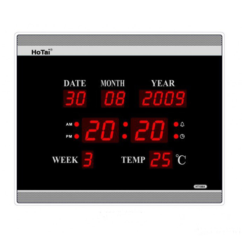 Besar LED digital wall clock EU plug power crystal elektronik kalendar digital penggera jam desktop clock despertador klok