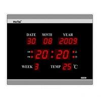 Large LED digital wall clock EU plug power crystal electronic calendar digital alarm clock desktop clock despertador klok