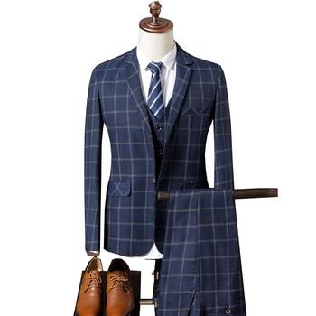 Business Three Piece Plaid Suit Jacket Coat Trousers Waistcoat
