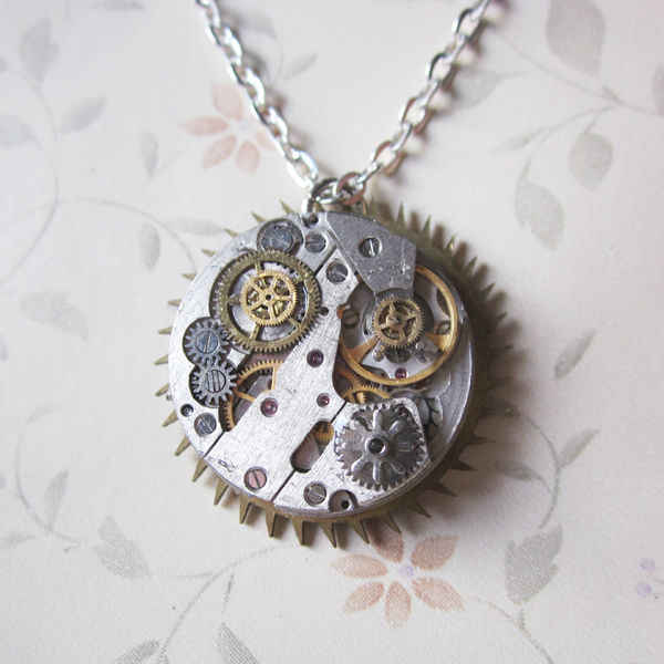 Elegant Handmade Unique Steampunk Gears Clock Tassel Pendant Rhinestone Bling Industrual Victorian Style Necklace