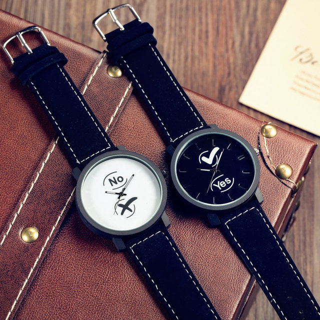 Fashion Casual YES and NO Black Leather Shockproof Quartz Watch Wristwatch for W