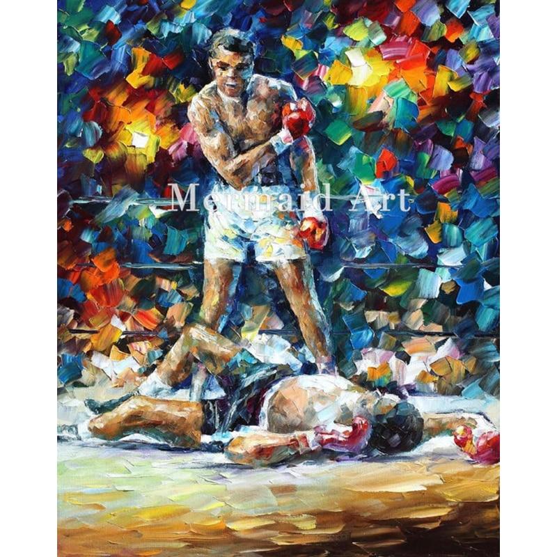 Peinture à l'huile peinte à la main sur toile pour abstraite Muhammad Ali mémorial Palette épaisse couteau peinture salon œuvre Art fin