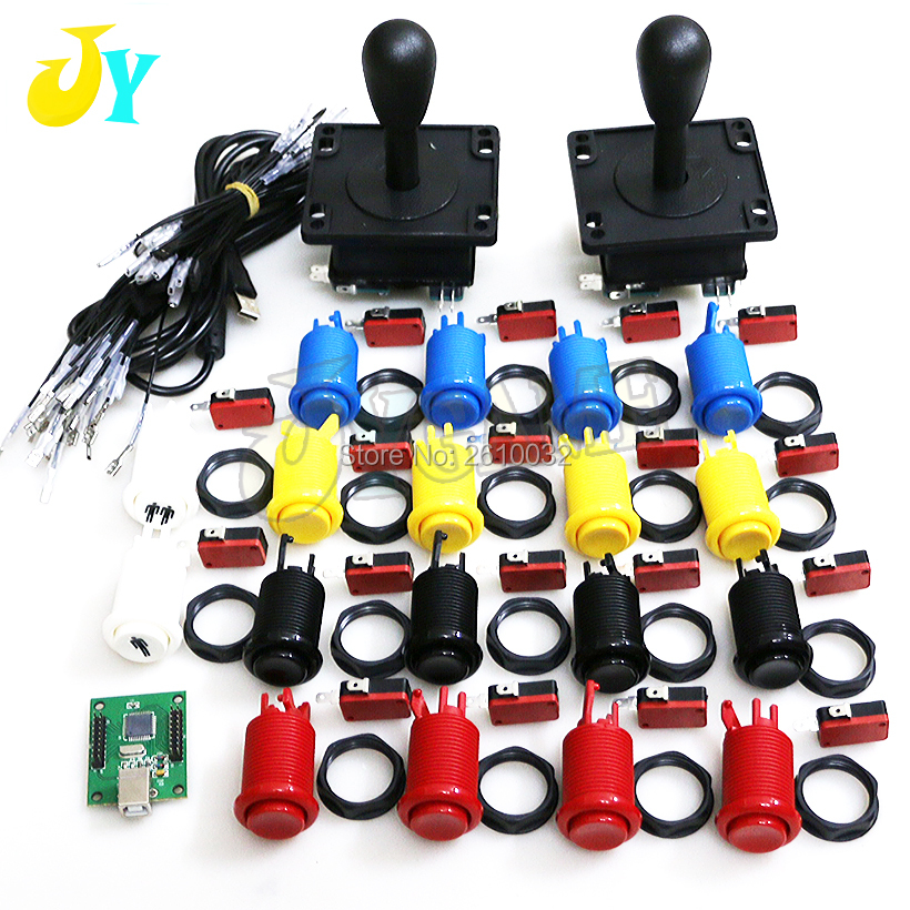 Free Shipping Arcade Zero Delay DIY Kit HAPP Style Joystick Arcade Push button USB To PC