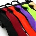 Para hombre de la Cremallera Sólido Lazo Corbata 6 cm Estilo Coreano Rojo Azul Púrpura verde Negro Narrow Neck Tie Delgado Lazy Lazos de Negocios Traje de Boda